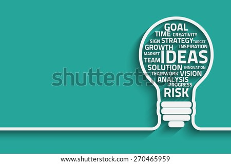 Business concept bulb made with words. Eps10 vector for your design - stock vector