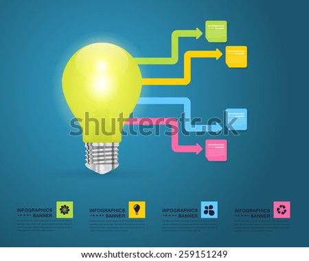 Business Concept Bulb, Numbers Infographics Arrow Vector Design - stock vector