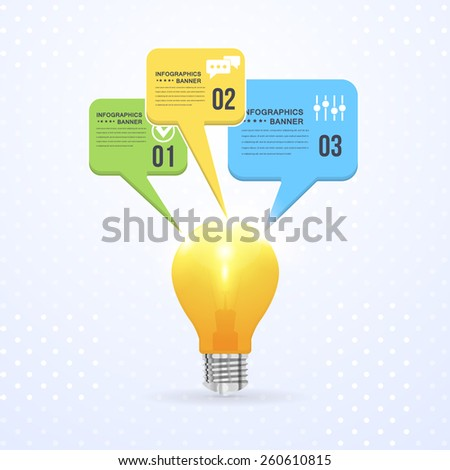Business Concept Bulb, Numbers Infographics Speech Bubbles Vector Design - stock vector