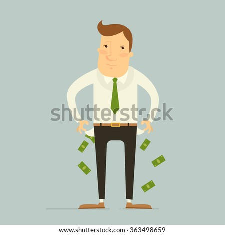 Business concept - business man have no money. Vector illustration - stock vector