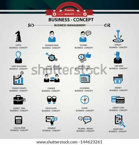 Business concept &Business management icons,Blue version,vector - stock vector
