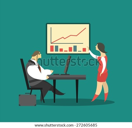 business concept business relations chief subordinate near the poster tells about business plans and achievements - stock vector