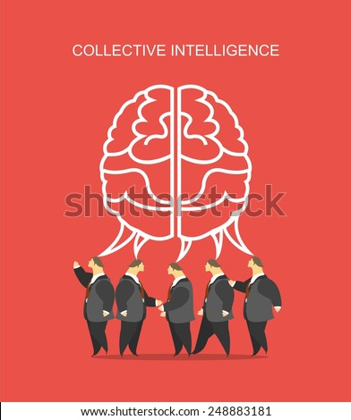 business concept business team crowd over them big brain metaphor for the collective intelligence - stock vector