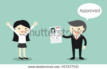Business concept, Business woman's resume is approved. Vector illustration - stock vector