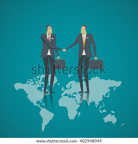 Business concept. Businessman handshake on the world map. - stock vector