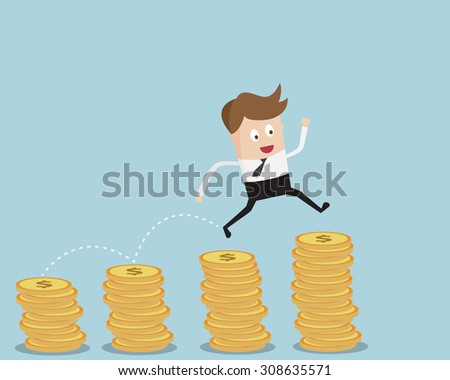 Business Concept,Businessman Jump On Coins Stack Cartoon Vector Illustration