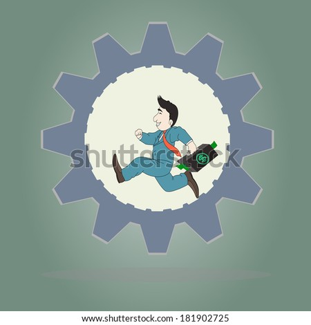 Business concept,Businessman wearing suit and carrying briefcase running inside of metal gear,Vector illustration. - stock vector