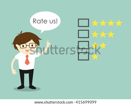 Business concept, Businessman with 'Rate us' concept. Vector illustration.