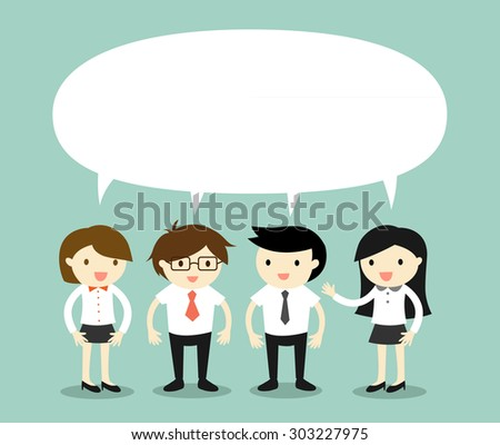 Business concept, businessmen and business women talking the same thing or same idea/concept. Vector illustration. - stock vector