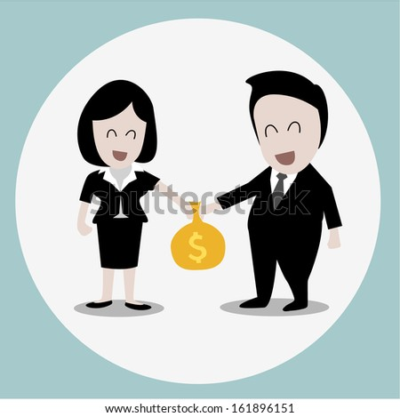 business concept : businesswoman with bonus  - stock vector