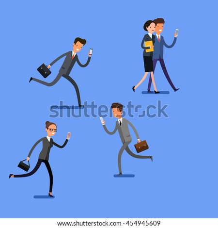 Business concept. Cartoon business people walking and talking on the mobile phones. Modern lifestyle. Flat design, vector illustration. - stock vector
