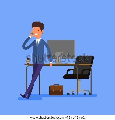Business concept. Cartoon businessman is sitting on a table and talking on the cell phone. Flat design, vector illustration. - stock vector