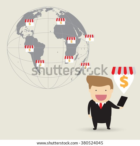 Business concept cartoon illustration. Businessman planning franchise business - stock vector