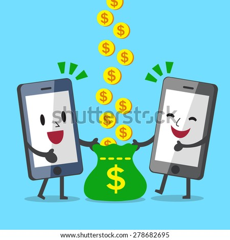 Business Concept Cartoon Smartphone Character Earning Money Together - stock vector
