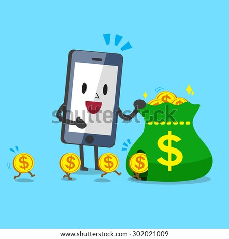 Business concept cartoon smartphone earning money - stock vector