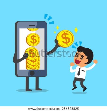 Business concept cartoon smartphone giving money coin to businessman - stock vector