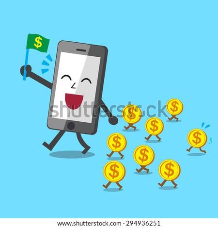 Business concept cartoon smartphone walk with money coins - stock vector