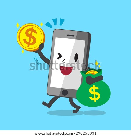 Business concept cartoon smartphone with big money coins and bag - stock vector
