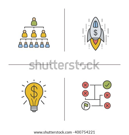 Business concept color icons set. Company hierarchy, goal achievement, money making idea and problem solving symbols. Vector isolated illustrations - stock vector