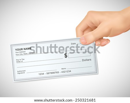 business concept: 3d hand holding a check over grey background - stock vector