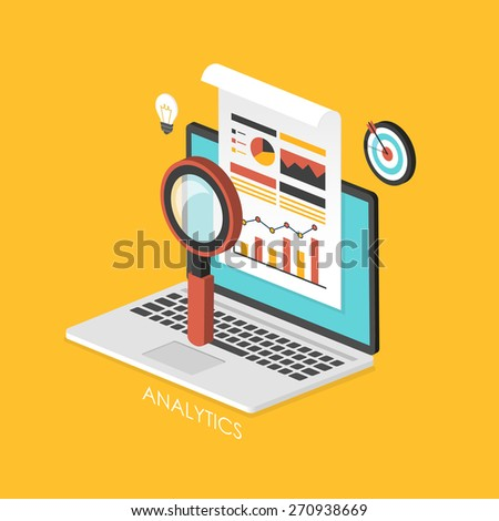 business concept 3d isometric infographic with laptop showing data analytics  - stock vector