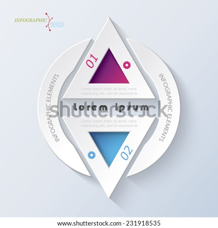Business concept design with triangle. Infographic template can be used for presentation, web design, workflow or graphic layout, diagram, numbers options - stock vector