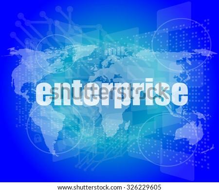 business concept: enterprise words on digital screen, 3d vector illustration - stock vector