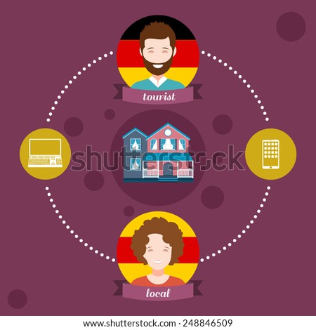 Business concept flat icons of travel, couchsurfing, recreation infographic design elements vector illustration - stock vector