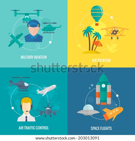 Business concept flat icons set of aircraft military aviation air tourism traffic control and space flights infographic design elements vector illustration - stock vector