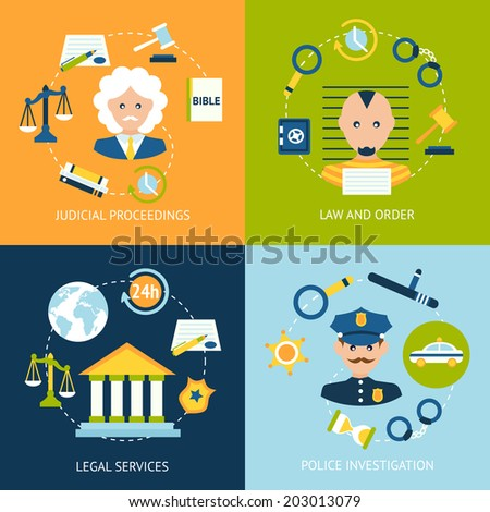 Business concept flat icons set of law and order judicial proceedings legal services police investigation infographic design elements vector illustration - stock vector