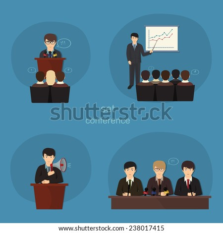 Business concept flat icons set of meeting partnership planning conference infographic design element - stock vector