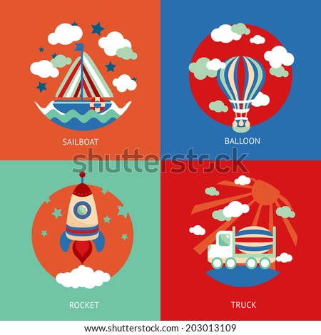 Business concept flat icons set of toys transport cartoon sailboat balloon and rocket truck infographic design elements vector illustration - stock vector
