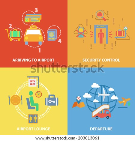 Business concept flat icons set with airport composition set of arriving security control lounge departure infographic design elements vector illustration - stock vector