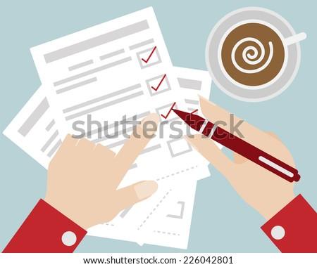 Business Concept Hand Check The Checklist Cartoon Vector - stock vector