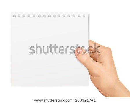 business concept: hand holding a notepaper over white background