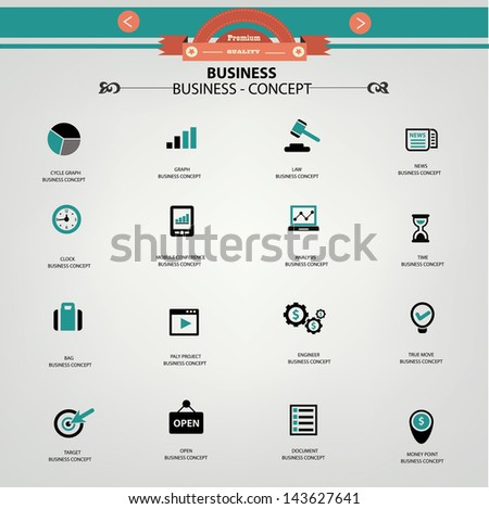 Business concept icons,vector - stock vector