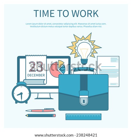 Business concept in flat design for time to work, work process, project and time management with idea, timing and business symbols - stock vector