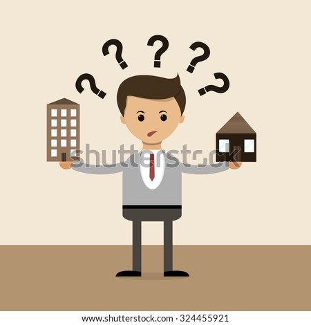 Business concept in flat design. The question of choice between the house and the apartment, the village and the town. Vector illustration - stock vector
