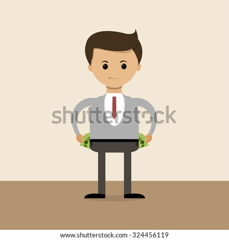 Business concept in flat design. The richest businessman of the world, their pockets full of money. Vector illustration - stock vector