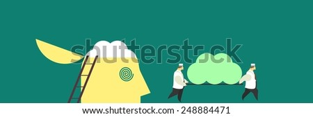 business concept in the form of little people change their brains nurses metaphor brain stem - stock vector