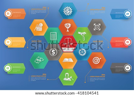 Business concept info graphic design on blue background,vector - stock vector