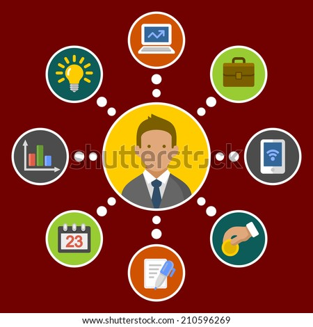 Business Concept Infographic Design Elements in Flat Style. Vector illustration - stock vector