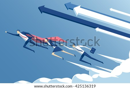 Business concept leadership and teamwork, vector illustration of business hero or superhero  flying through the cloud and help the team to succeed - stock vector