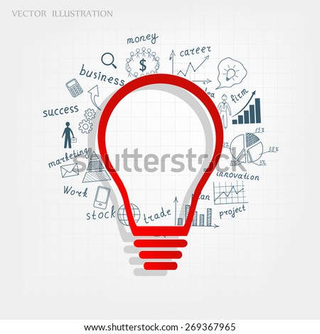 Business concept, Light bulb with drawing business success strategy plan idea, Vector illustration modern template design - stock vector