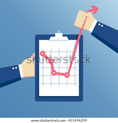 business concept of crisis and crisis exit, effort at a critical moment, hands holding clipboard with graph, concept going beyond the limits of the possible - stock vector