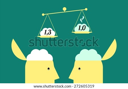 business concept of weighing the brain healthy and sick, healthy weight pounds three hundred grams - stock vector