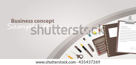 Business concept - pens and documents. Vector created illustration. Isolated objects. Sample text.  - stock vector