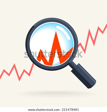 Business concept - retro magnifying glass, data analysis - stock vector