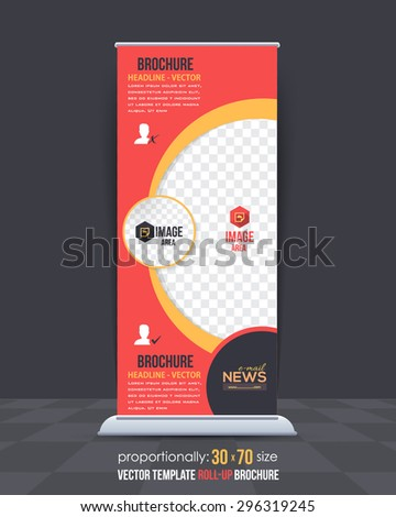 Business Concept Roll-Up Banner Design, Advertising Vector Template - stock vector