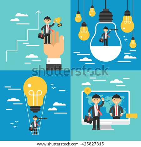 Business concept set. Search of opportunities, leadership, growth and innovation business concept - stock vector